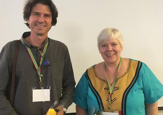 Scott Drimie from Stellenbosch University and Marguerite Daniel from the University of Bergen after presenting their research project at University of Western Cape on Thursday 1 November 2018.