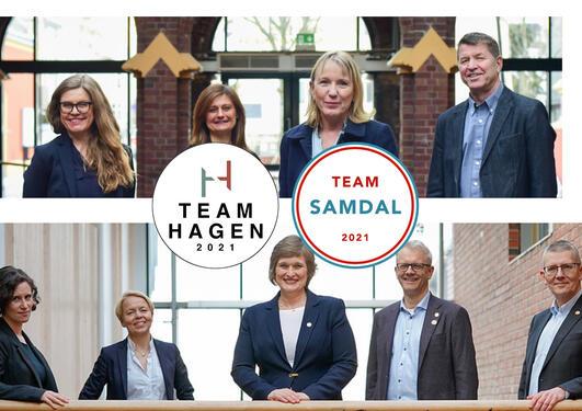 Bilde av de to teamene som stiller til rektorvalg