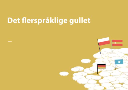 Illustrasjon av gull og språk (flagg)