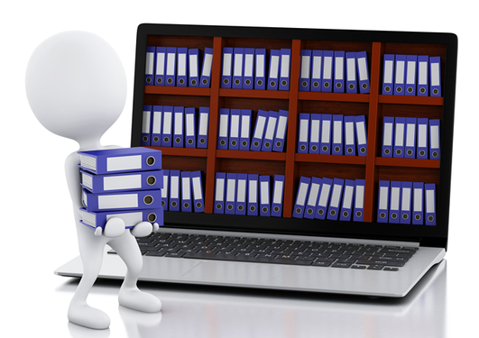Bilde av laptop med en rekke permer på skjermen + en figur som bærer noen permer til laptoppen