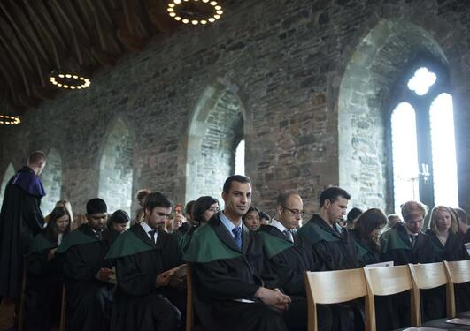 PhD students from the Faculty of Mathematics and Natural Sciences at the doctor promotion in Håkon's Hall in August 2014.
