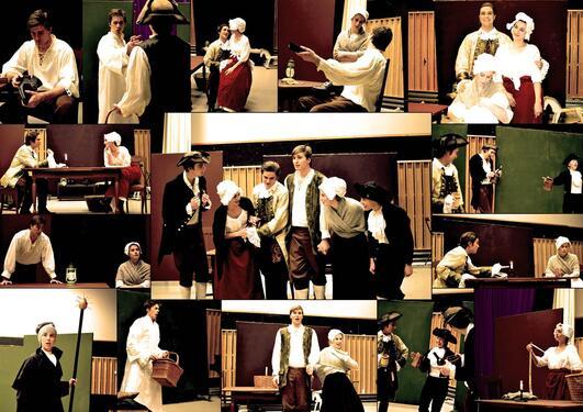 Kollasje med bilder hentet fra forestillingen, studenter fra Griegakademiet i kostyme.