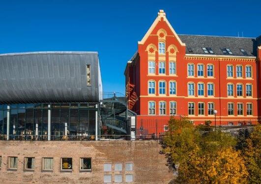 Høstbilde av bygningene på Det juridiske fakultet