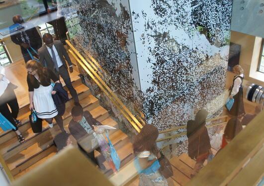 Pynta studenter på vei ned trappen fra Universitetsaulaen.