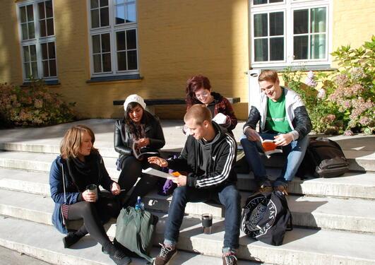 Foto av fem unge mennesker som sitter i en trapp med skriveblokker