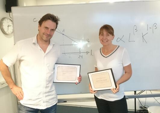 Ivar Gaasland og Astrid Grasdal ved Institutt for økonomi, UiB