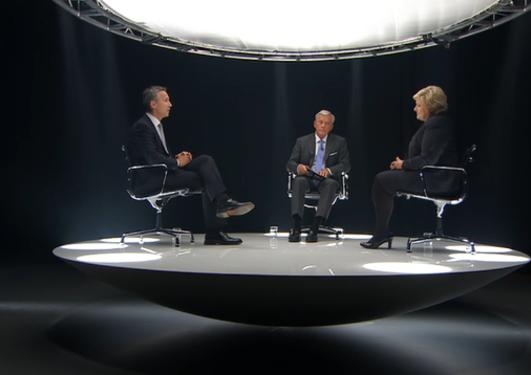 """Bildet viser Jens Stoltenberg, Oddvar Steenstrøm og Erna Solberg i programmet """"Debatten"""" på TV2 under stortingsvalget 2013."""