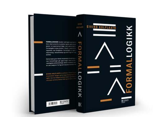"""Bilde av for- og baksiden av boken """"Formallogikk"""" av Eivind Kolflaath"""