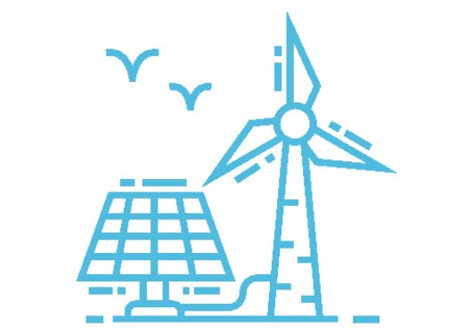 icon of wind turbines and solar panels