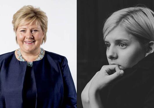 Bilde av statsminister Erna Solberg og AURORA