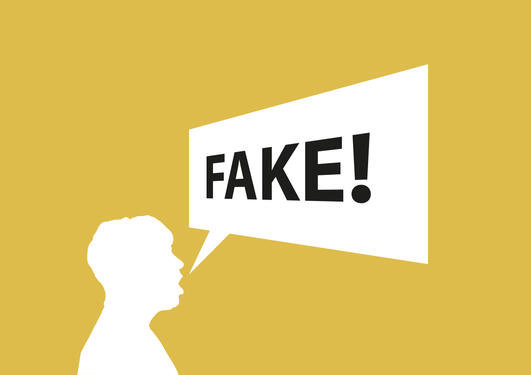 Person med tekstboble som sier fake