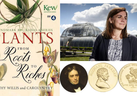 The front cover of the book Plants - From Roots to Riches alongside a photo of Kathy Willis outside Kew Gardens and a picture of Michael Faraday and the Faraday Medal