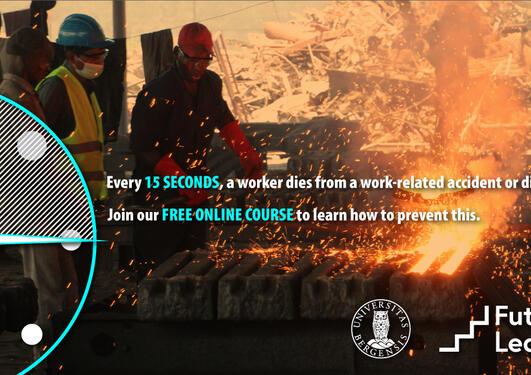 Plakat med informasjon om kurset. To personer som arbeider i et smelteverk