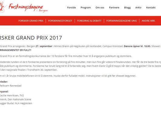 screenshot forside forsker grand prix 2017
