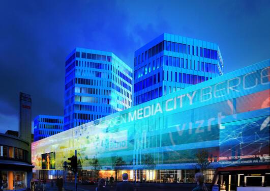 Illustrasjon av fasaden til Media City Bergen