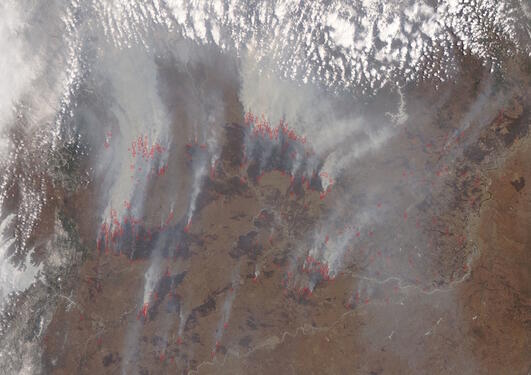Smoke plumes from wild fires in Russia