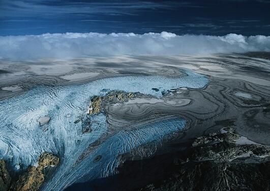 Image of Norwegian glacier Folgefonna melting.