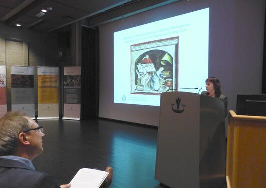 Bilde av Prof. Marialuisa Caparrini under foredraget