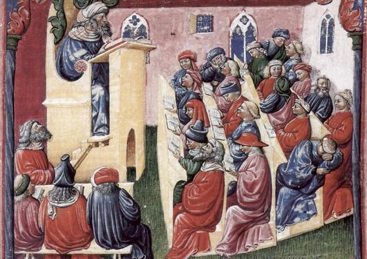 Laurentius de Voltolinas målning av en universitetsföreläsning på 1350-talet.