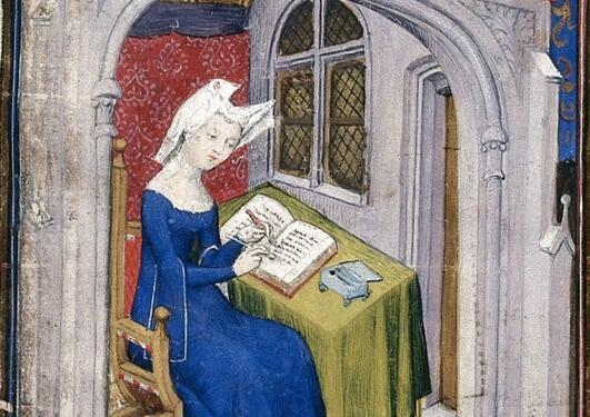 Maleri av forfatter Christine de Pizan