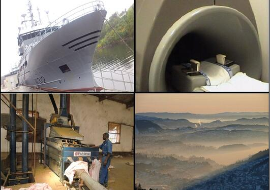 A naval vessel, an mr-machine, industry in Africa and polluted air in Bergen