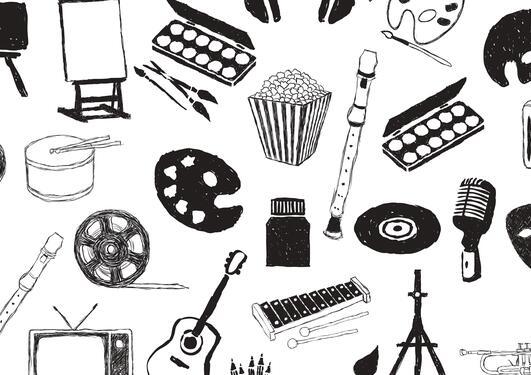 Svart- hvitt tegninger av ulike instrumenter