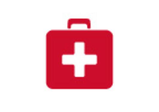 Ikonet viser en rød førstehjelpskoffert.
