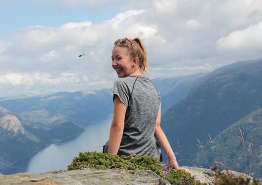 "Franzi at the top of the mountain ""Preikestolen"""