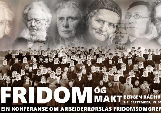Illustrasjonsbilde til konferansen med flere av våre store forfattere og demonstrerende kvinner med skaut fra arbeidarbevegelsens tidlige tider