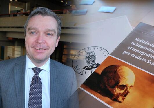 Postdoktor i arkeologi ved AHKR, Stian Suppersberger Hamre, ledet konferansen på Bryggens Museum.