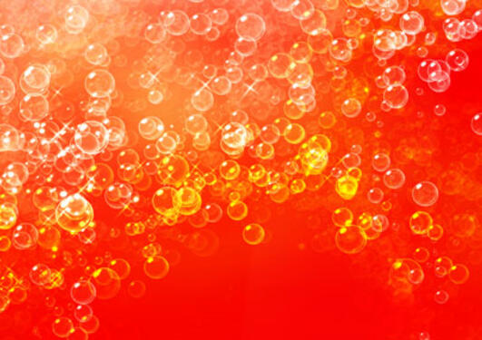 gas bubbles with red background