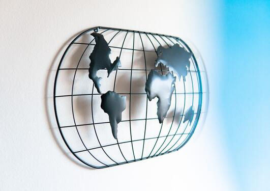 Photo of an abstract rendition of a world map.
