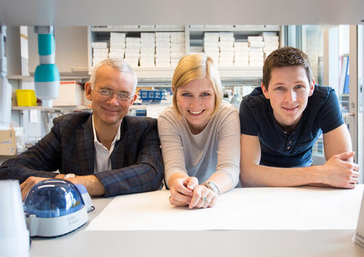 he resarch group: Professor Eystein Sverre Husebye (to the left) together with molecularbiologists Bergithe Eikeland Oftedal and Aleksander Hellesen.