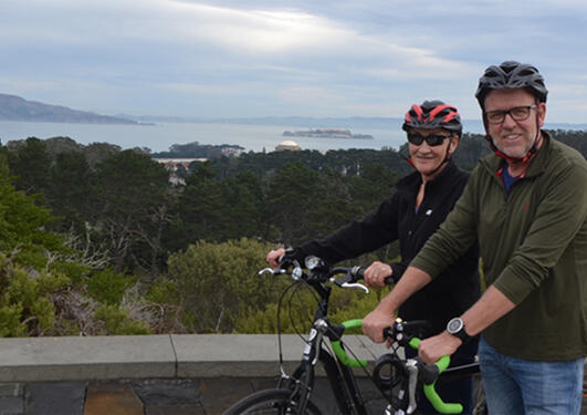 Donald Gullberg and mrs on a bicycle trip in the San Franscisco bay.