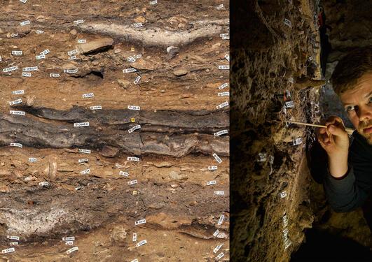 Magnus Haalnd på feltarbeid i Blombos Cave