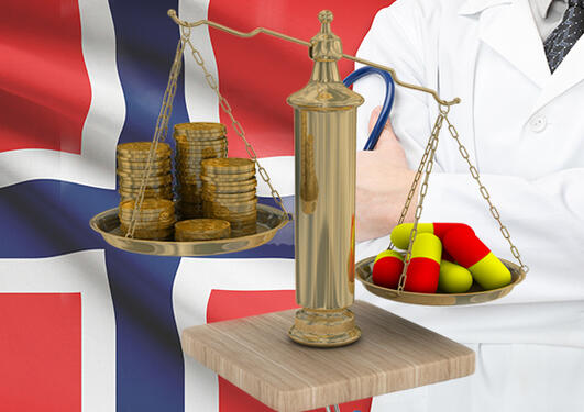 the Norwegian flag and a doctor as a background, a scale with money and medicine in the front.