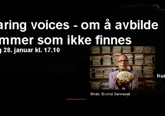 Hearing voices reklamebanner fra NRK Kunnskapskanalen med informasjon om sendetidspunkt