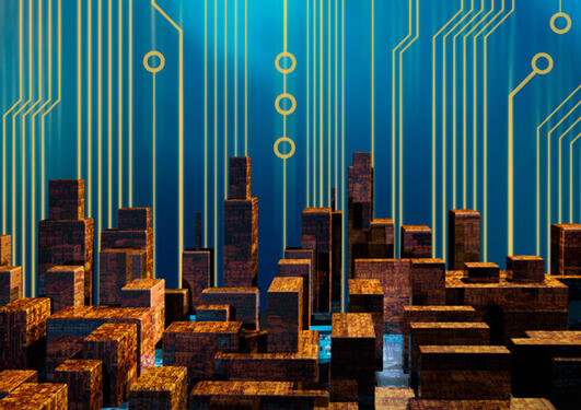 Illustrasjon, storby med digitale linjer