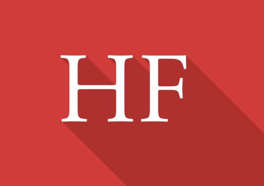 Logo for Humanistisk fakultet. Det står HF i hvit skrift på rød bakgrunn.