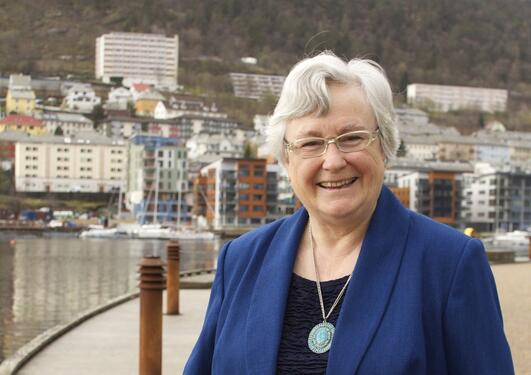 Hilary Birks outside the Biology building, University of Bergen