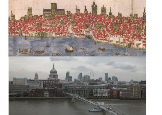 Tegning av London 1588 og bilde av London fra 2005