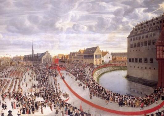 Maleri av prosesjon og folkemasse