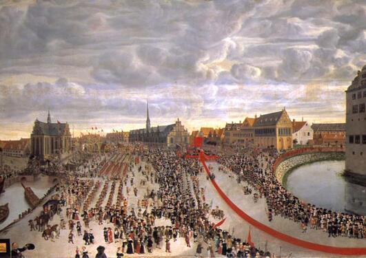 Bilde av parader og folkehav. arvehyldningen 1660