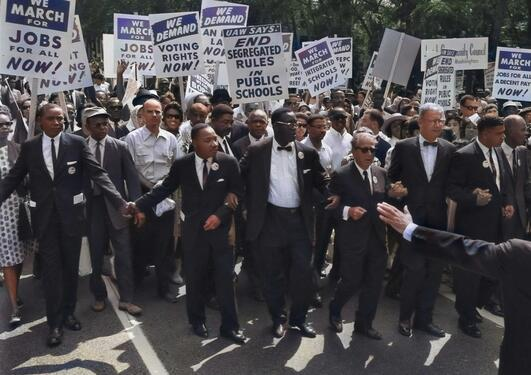 MLK in the March on Washington for Jobs and Freedom, August 28, 1963.