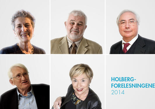 Photo montage of five former winners of the Holberg Prize in conjunction with the Holberg Lectures 2014.