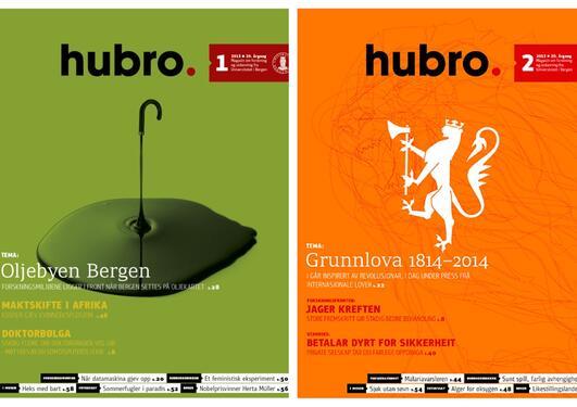 Forsidene til Hubro nummer 1 og 2, 2013