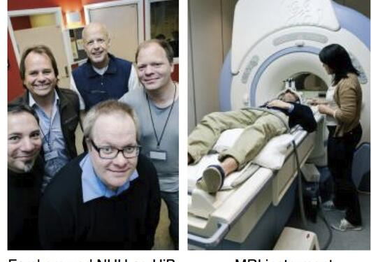 The researchers and the MRI machine used in the study