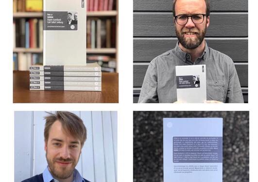 Firedelt bilde der en del viser forsiden, en del baksiden av boken og der de to siste delene har bildet av forfatterne som også holder et eksemplar av boken