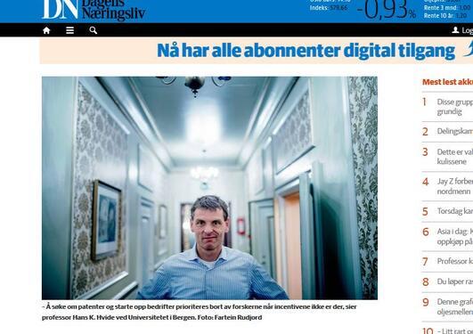 Faksimilie Hans Hvide Dagens Næringsliv