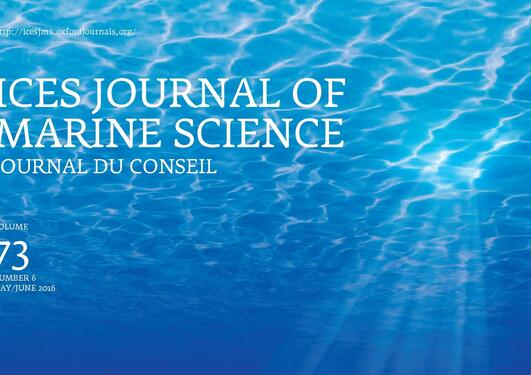 Front page of a journal with blue sea surface from below